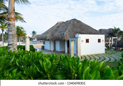Punta Cana, Dominican Republic - March 10, 2019: View of buildings near the pools on the Hard Rock Resort in Punta Cana.