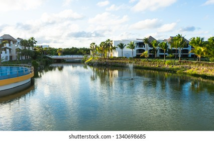 Punta Cana, Dominican Republic - March 10, 2019: The gorgeous Hard Rock Resort and Casino in Punta Cana with rivers and tropical scenery on the massive property.