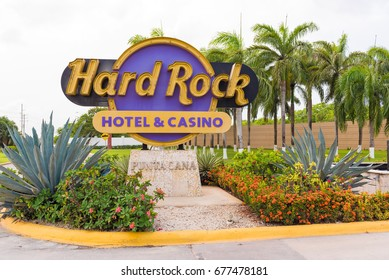 "PUNTA CANA, DOMINICAN REPUBLIC - MAY 22, 2017: Sign of the hotel and the casino ""Hard Rock"""