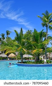 Punta Cana, Dominican Republic - may 28 2017 :tourists enjoying in pool in an hotel