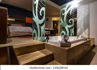 PUNTA CANA, DOMINICAN REPUBLIC - OCTOBER 31, 2015: Hard Rock Hotel room interior and Casino Punta Cana