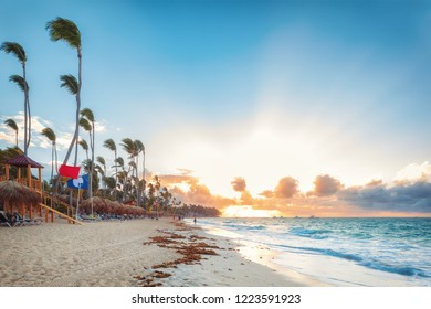 Punta Cana, Dominican Republic - sunset sunny beach with clouds