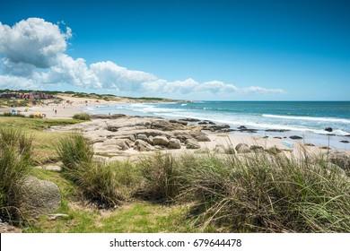 Punta del Diablo Beach, province Rocha â?? popular tourist site and fisherman's place in the Uruguay Coast