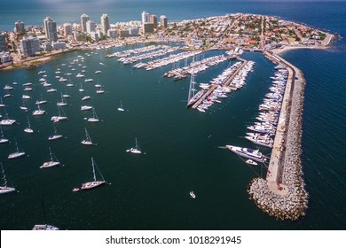 Punta del Este, Maldonado, Uruguay, aerial view of peninsula and marina of Punta del Este.