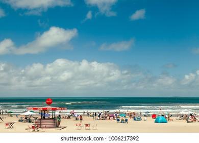 Punta del Este, Uruguay - 14 January 2014:  Parada 1 at Brava Beach in Punta del Este, a popular resort town in Uruguay.