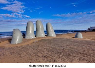 Punta del Este, Uruguay - 2019.05.28. - The sculpture «The hand» in Punta del Este in Uruguay