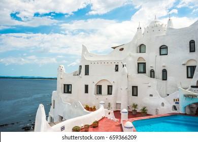 Punta del Este, Uruguay, February 29, 2016 - Casapueblo, a unique landmark building created by the famous artist Carlos Paez Vilaro, located near Punta del Este in Atlantic Coast of Uruguay