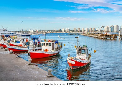 PUNTA DEL ESTE, URUGUAY, OCTOBER - 2018 - Old small fishing boats parked at port in punta del este city, Uruguay