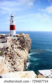 Punta Europa lighthouse in the south territory of the rock of Gibraltar