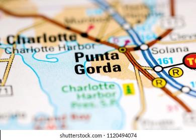 Punta Gorda. Florida. USA on a map
