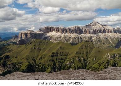 Punta penia and Sassolungo in Dolomites, Italy
