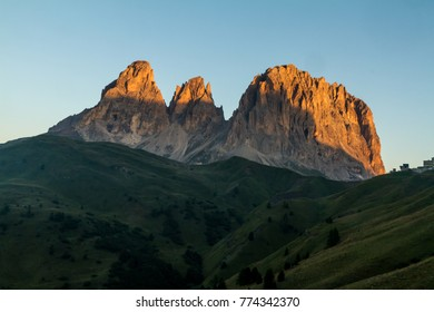 Punta penia and Sassolungo in Dolomites, Italy