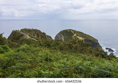 Punta Socastro in O Vicedo, Galicia, Spain. A headland in the Galician northern coast also known as O Fuciño do Porco (the pig's snout).