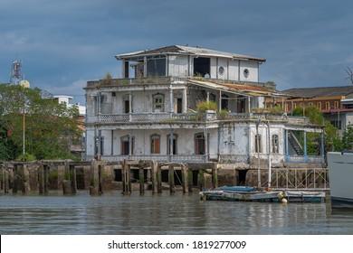 Puntarenas, Puntarenas / Costa Rica - 09 09 2020: Beautiful abandoned House of the expresidente Mario Ehandi in Puntarenas Center in Costa Rica  - Shutterstock ID 1819277009