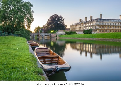Punting boats at river Cam in Cambridge. England