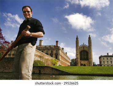 Punting on the river Cam by King's College chapel, Cambridge University, England