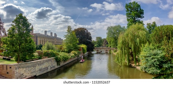 Punts on river Cam in Cambridge, England