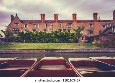 Punts on the River Cam in Cambridge, England