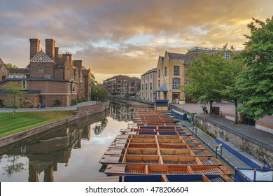Punts on the RIver Cam in Cambridge, Cambridgeshire, England
