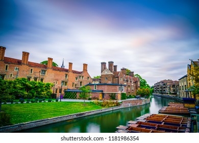 Punts on the River Cam at the city center of Cambridge, England