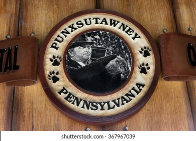 PUNXSUTAWNEY, PA - MARCH 29: Sign at Phils Burrow in downtown Punxsutawney, PA on March 29, 2015. The sign depicts a scene with Bill Murray from the popular movie Groundhog Day.