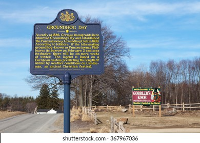PUNXSUTAWNEY, PA - MARCH 29: Signage at Gobblers Knob on March 29, 2015 in Punxsutawney, PA. The sign marks the annual Groundhog Day celebration held on February 2nd.