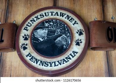 Punxsutawney, Pennsylvania, USA - June 30, 2018 :  Official seal at Punxsutawney Phil's, Groundhogs Day's official furry prognosticator, Burrow in Punxsutawney, Pennsylvania.