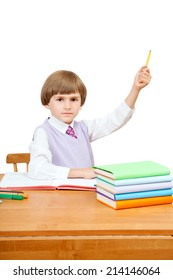 the pupil at the Desk raised his hand