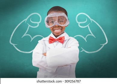 Pupil dressed up as scientist against green chalkboard