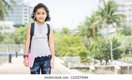 pupil of primary of preschool.kindergarten school concept.Cute kid smiling is going to school.back to school