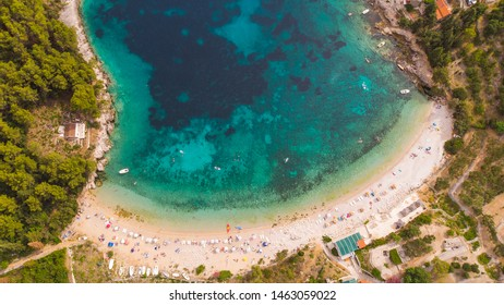 Pupnatska Luka, Korcula, Croatia. Croatian islands from the sky - Shutterstock ID 1463059022