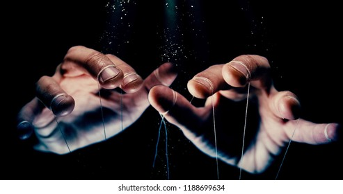 Puppet Master controlling and manipulating you concept