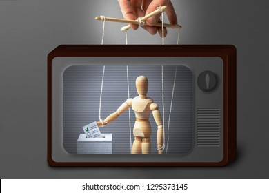 Puppeteer manipulates the doll. Voting is dishonest. On television, person lowers a paper ballet box to put it in an urn, false voice. Fake news on TV.