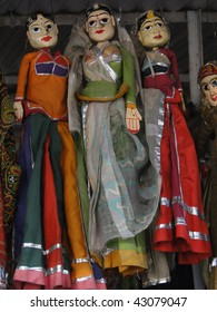 Puppets and marionettes of Rajput princes  in Udaipur marketplace,  Rajasthan,  India, Asia