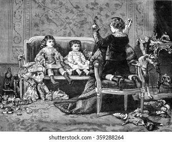 Puppets, painting by Maurice Leloir, vintage engraved illustration. Magasin Pittoresque 1880.