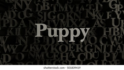 Puppy - 3D rendered metallic typeset headline illustration.  Can be used for an online banner ad or a print postcard.