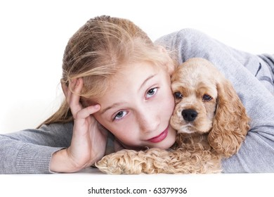 Puppy American Cocker Spaniel Breed and Teen Girl female, childhood, child