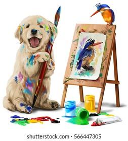 Puppy the artist draws the bird