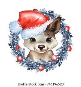 Puppy. Cute watercolor dog portrait 3. Christmas card