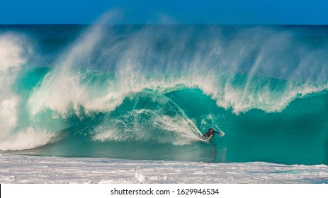 Pupukea, Hawaii, USA - January 26, 2020: Known worldwide for its perfect barreling waves, the legendary Banzai Pipeline is located off Ehukai Beach Park on the North Shore Oahu.