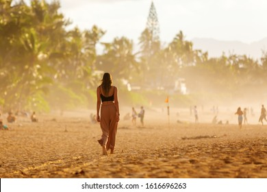 Pupukea, Oahu, Hawaii - November 05, 2019: sunset beach at the North Shore with unidentified people. This area is best known for its massive waves, attracting surfers from all around the globe
