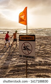 Pupukea, Oahu, Hawaii - November 07, 2019: sunset beach at the North Shore with unidentified people. This area is best known for its massive waves, attracting surfers from all around the globe