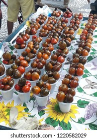 Pupunhas (Brazilian fruits) on cups over a table on Belem, Brazil
