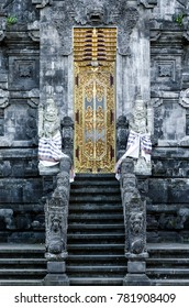 Pura Goa Lawah 'bat cave' ancient hindu temple exterior detail in klungkung south bali indonesia