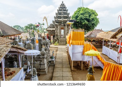 Pura Kehen, Balinese Hindu temple in Bangli Regency, Bali, Indonesia decorated for Melasti celebration.