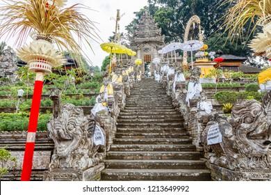 Pura Kehen, Balinese Hindu temple in Bangli Regency, Bali, Indonesia decorated for Melasti celebration.