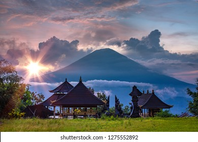 Pura Lempuyang temple view of volcano Agung at sunset time, Bali island, Indonesia