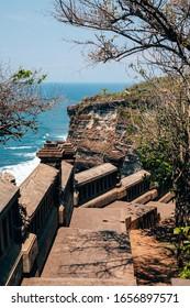 Pura Luhur Uluwatu Temple on a cliff by the ocean, Bali, Indonesia