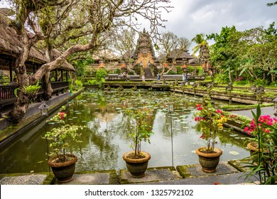 Pura Taman Saraswati Temple. Ubud, Bali, Indonesia. The Pura Taman Saraswati is a beautiful water temple in central Ubud.