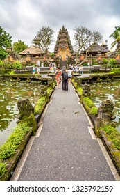 Pura Taman Saraswati Temple. Ubud, Bali, Indonesia. The Pura Taman Saraswati is a beautiful water temple in central Ubud.